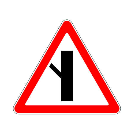 Illustration of Triangle Warning Sign. Priority Over Junction From Left Illustration