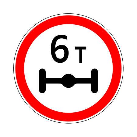 Illustration of Road Prohibitory Sign Maximum Weight Per Axle. Illustration on White 向量圖像