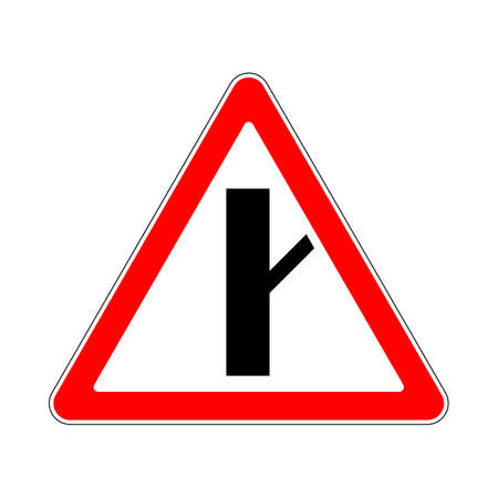 quadratic: Illustration of Triangle Warning Sign. Priority Over Junction From Right Illustration