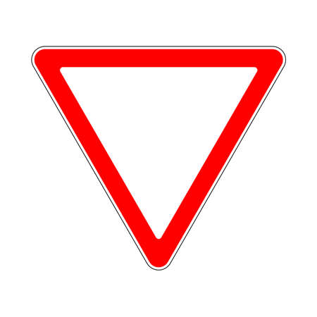 Illustration of Triangle Warning Sign. Priority of Traffic Sign. Give Way Illustration