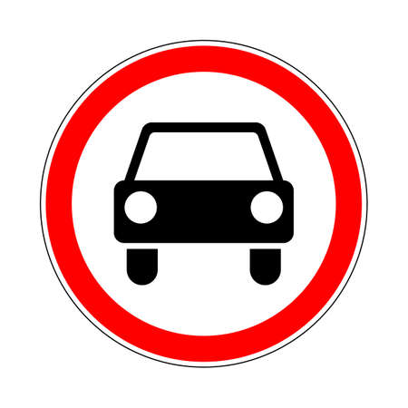 banned: Illustration of Road Prohibitory Sign No Motor Vehicles Except Motorcycles