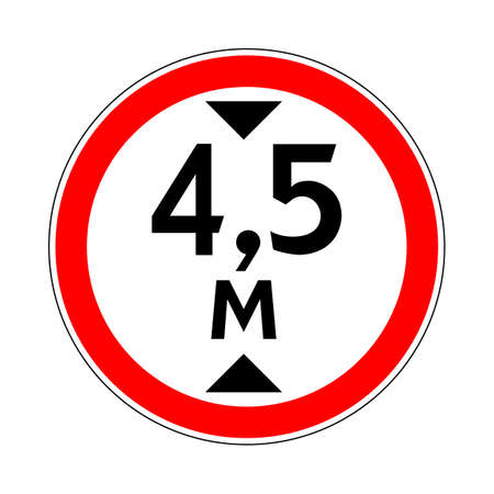 Illustration of Road Prohibitory Sign Maximum Height. Illustration on White Illustration