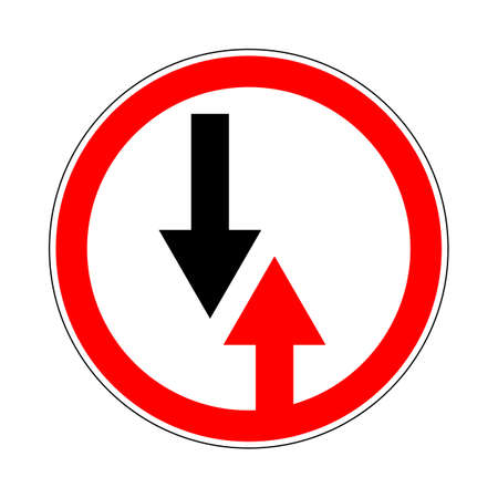 Illustration of Circle Priority Sign. Give Way to Oncoming Traffic Sign Illustration