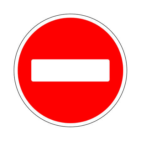 Illustration of Prohibitory Red Circle Sign. No Entry for Vehicular Traffic