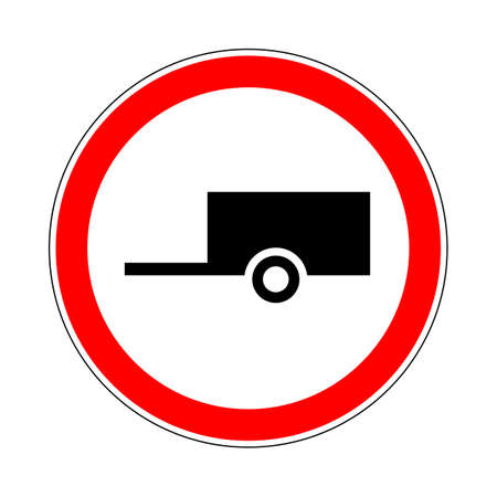 Illustration of Road Prohibitory Sign No Trailers. Illustration on White