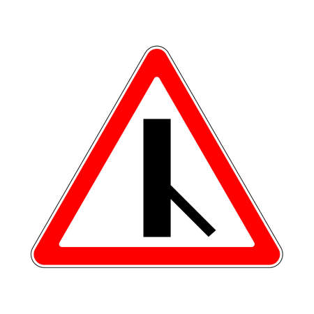 Illustration of Triangle Warning Sign. Priority Over Junction From Right on White Illustration