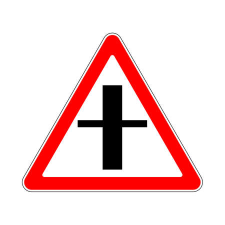 the roadside: Illustration of Triangle Warning Sign. Crossroads Warning Main Road Sign Illustration