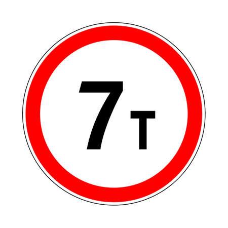 Illustration of Road Prohibitory Sign Maximum Weight
