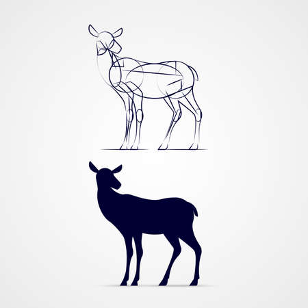 Illustration of Standing Young Deer Silhouette with Sketch Template on Gray Background Illustration