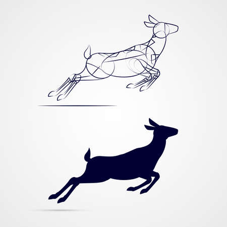 Illustration of Running Female Deer Silhouette with Sketch on Gray Background