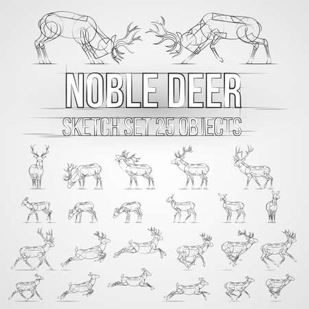 Illustration with Deer Sketch Silhouettes Isolated on Gray Background Illustration