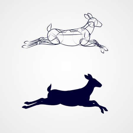 회색 배경에서 실행 스케치와 여성 사슴 실루엣