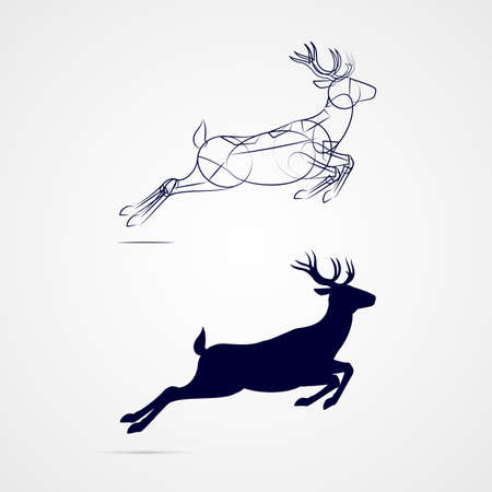 Illustration of Running Horned Deer Silhouette with Sketch Template on Gray Background 向量圖像