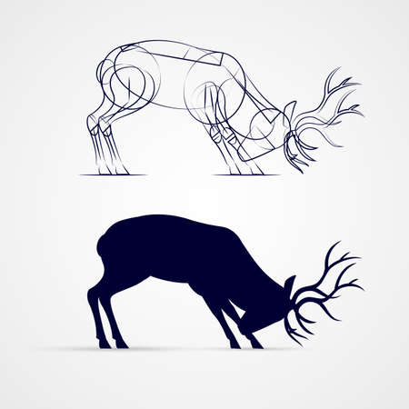 Horned Deer Silhouette with Sketch Template on Gray Background Illustration