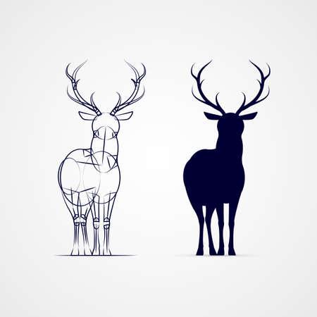 스케치 템플릿으로 서있는 발정 된 사슴 실루엣 일러스트