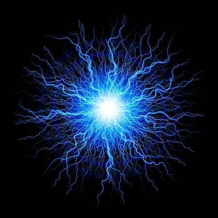 Abstract Science Background and Object, Electrical Sparks on a Black Background Ilustração