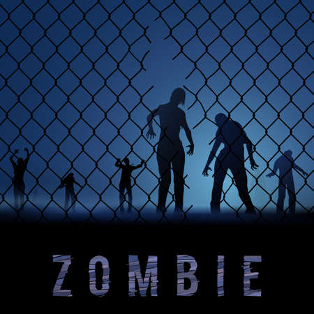 hallow: Zombie Walking. Silhouettes Illustration for Halloween Poster Illustration