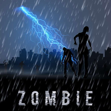 Zombie Walking out From Abandoned City at Night in a Rainy Weather