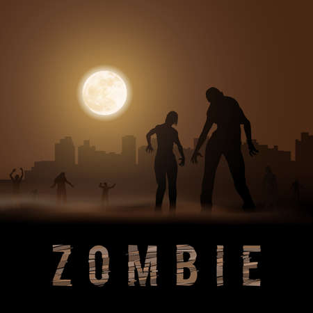 Zombie Walking out From Abandoned City. Silhouettes Illustration for Halloween Poster Illustration