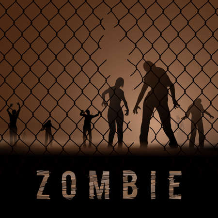 hallow: Zombie Walking at Night. Silhouettes Illustration for Poster Template