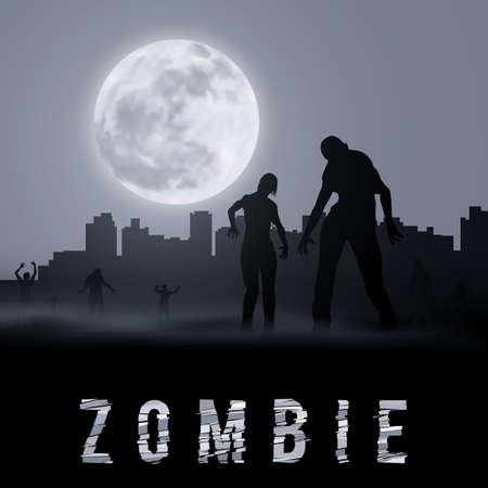 Zombie Walking out From Abandoned City at Night. Silhouettes Illustration for Halloween Poster