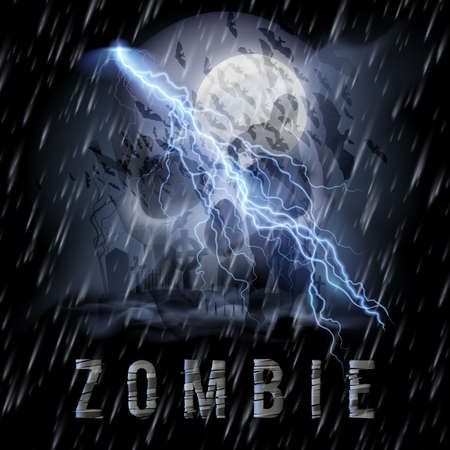 cemetry: Halloween Background with Skull, Zombie in a Rainy Weather
