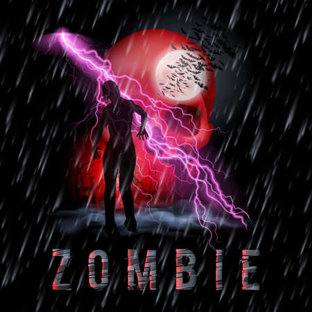 cemetry: Halloween Background with Walking Zombie in a Rainy Weather