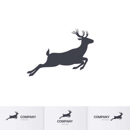 Running Horned Deer Silhouette for Mascot Logo Template