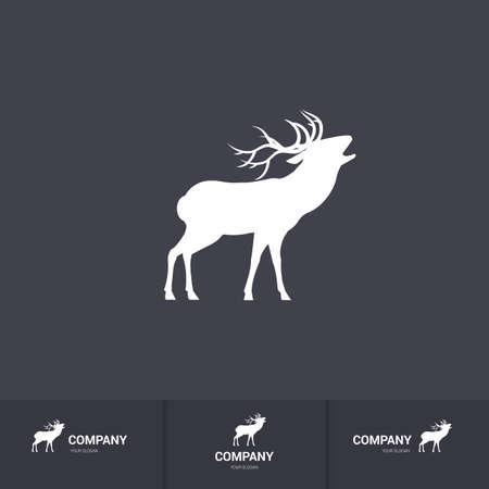 Simple roaring horned deer silhouette.