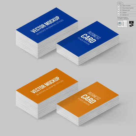 Wite business cards template branding mock up with 3d rotate business cards template in blue and orange colors corporate identity branding mock up with wajeb Image collections