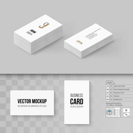 Wite business cards template branding mock up with 3d rotate vector wite business cards template branding mock up with 3d rotate options cheaphphosting