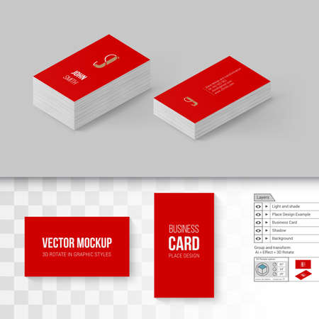 Wite business cards template branding mock up with 3d rotate red business cards template branding mock up with 3d rotate options vector accmission Choice Image