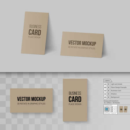 Brown business cards template mock up with 3d rotate options brown business cards template mock up with 3d rotate options on gray and transparent background reheart Image collections