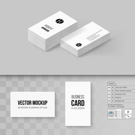 Wite Business Cards Template Branding Mock Up With D Rotate - 3d business card template