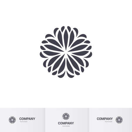asian business: Abstract Floral Geometric Element for Circular Logo. Company Mark, Emblem. Simple Geometric Mandala Logotype Illustration
