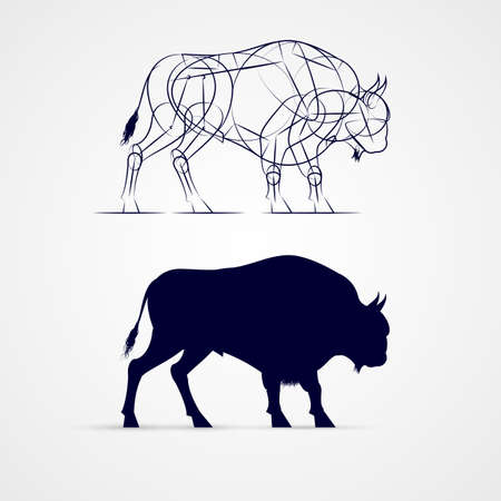 animate: Horned Bison Silhouette with Sketch Template on Gray Background