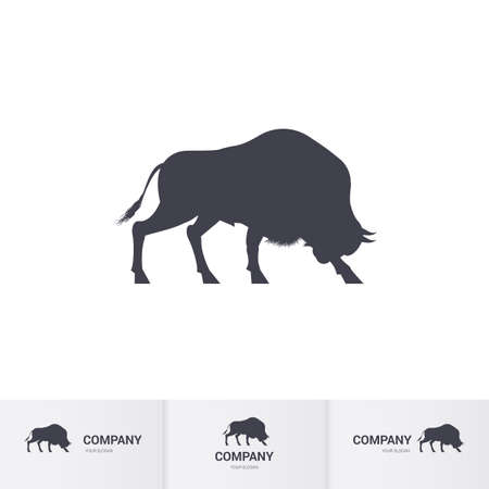 Simple Bison for Mascot Logo Template on White Ilustrace