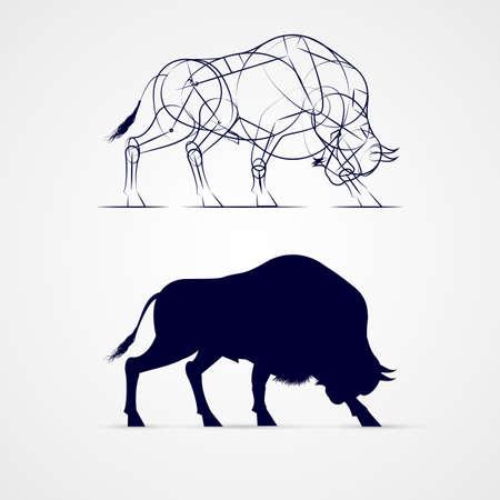 Gehoornde Bison Silhouette met schets sjabloon op grijs Stock Illustratie