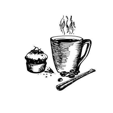 Hand Drawn Sketch of Coffee Cup with Delicious Cupcake and Cinnamon. Vintage Sketch. Great for Banner, Label, Poster Illustration
