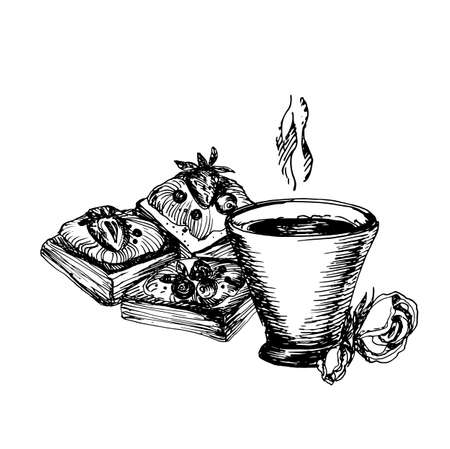 Hand Drawn Sketch of Coffe Cup and Delicious Puffs. Vintage Sketch. Great for Banner, Label, Poster Illustration