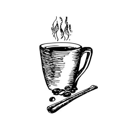 great coffee: Hand Drawn Sketch of Coffee Cup with Cinnamon. Vintage Sketch. Great for Banner, Label, Poster