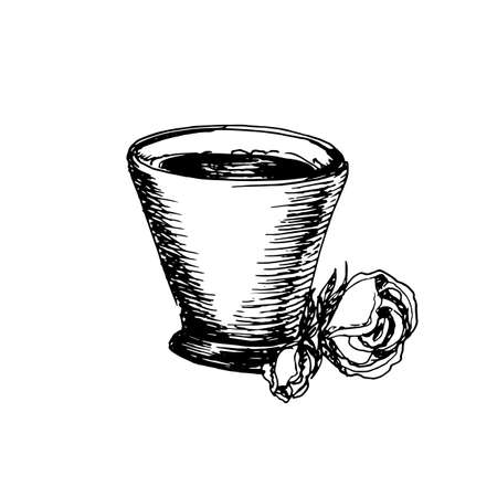 Hand drawn vintage sketch of coffee cup great for banner, label, and poster