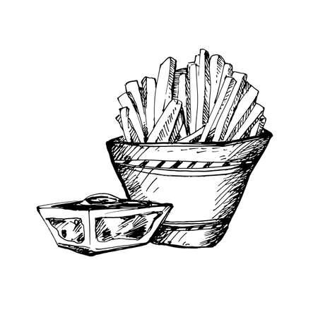 Abbozzo disegnato a mano di fast food grande per banner o etichetta Vettoriali