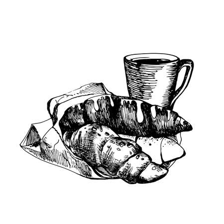 great coffee: Hand drawn vintage sketch of croissants and coffee Cup great for banner, label, and poster Illustration