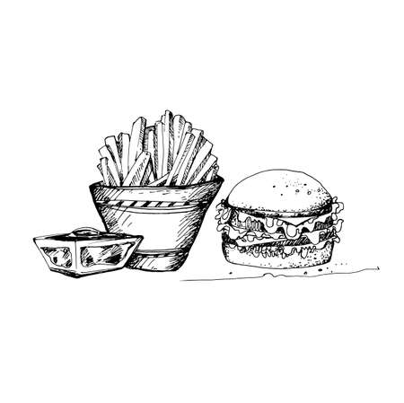 Schizzo disegnato a mano di tema fast food. Ottimo per Banner, Etichetta, Poster Archivio Fotografico - 82996315