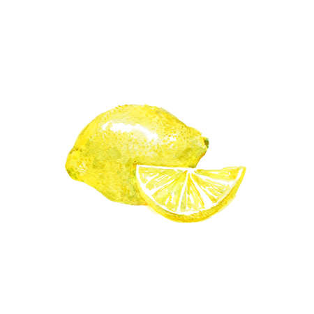 limon: Watercolor Lemon. Hand Drawn Illustration Organic Food Vegetarian Ingredient Stock Photo