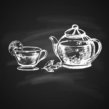 Hand Drawn Chalk Sketch on Blackboard of Teacup and Teapot. Illustration