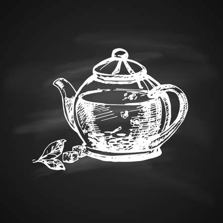 Hand Drawn Chalk Sketch on Blackboard of Teapot. Vintage Sketch. Illustration