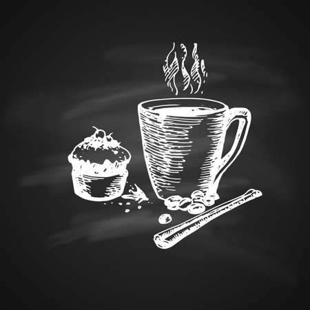 Hand Drawn Chalk Sketch on Blackboard of Coffee Cup with Delicious Cupcake and Cinnamon. Vintage Sketch. Great for Banner, Label, Poster