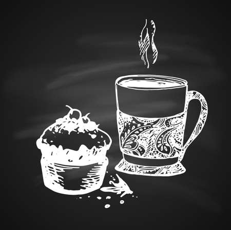 Hand drawn chalk sketch on blackboard of tea cup and delicious cupcake. Illustration